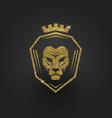 Glitter gold lion logo vector image