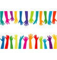 color hands silhouettes vector image
