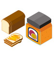 3d design for bread and passion fruit jam vector image