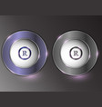 3d silver button on gray background vector image vector image