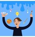artist painter painting color pallet idea vector image