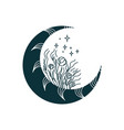 black floral moon isolated boho drawing mystical vector image vector image