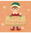 Board Candy Cane Christmas Elf Glasses Boy vector image vector image