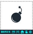 Bomb icon flat vector image vector image