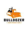bulldozer construction tool logo vector image