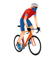 cartoon young man in helmet riding touring bike vector image