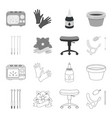 chair on rollers needles for tattoo and other vector image vector image