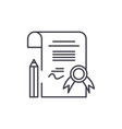 diploma line icon concept diploma linear vector image vector image
