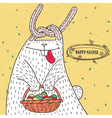 Easter bunny with Easter basket and Easter eggs vector image vector image