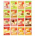 fast food street food snacks cards menu vector image vector image