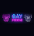 gay pride neon sign lgbt design template vector image vector image