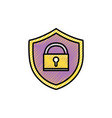 grated shield protection with padlock symbol vector image