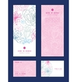 gray and pink lineart florals vertical frame vector image vector image