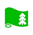 Green flag with fir icon simple style vector image