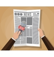 hand holding a microphone and newspaper vector image vector image