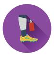 Icon of football bandaged leg with aerosol vector image