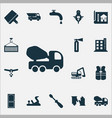 industrial icons set with vest fire extinguisher vector image vector image