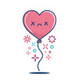 kawaii dead valentine heart balloon vector image