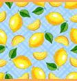 lemon fruit seamless pattern yellow lemons on a vector image