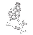 little floating mermaid with dolphin vector image vector image