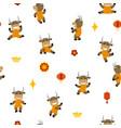 little smiling bulls dancing and having fun vector image vector image