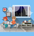 man and woman sitting on the couch with book vector image vector image