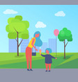 mother with daughter in entertainment park cartoon vector image vector image