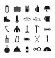 mountaineering equipment icons set simple style vector image vector image