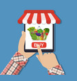 online food shopping smartphone vector image vector image