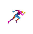 paper cut shape sports man running 3d origami vector image