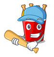 playing baseball character bucket chicken fried vector image