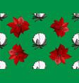 poinsettia ans cotton christmas pattern vector image
