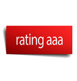 Rating aaa red paper sign on white background
