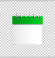 realistic calendar green isolated object vector image vector image