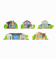 residential houses family home cottages buildings vector image vector image