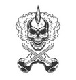 rocker skull with mohawk vector image vector image