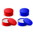 round gift box blue and red closed and open vector image vector image