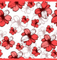 seamless pattern with pink flowers on white vector image