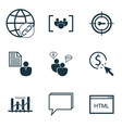 set of 9 advertising icons includes search vector image