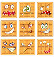 set of waffle facial expression vector image