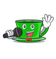 singing green tea character cartoon vector image