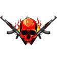 skull with machine guns kalashnikov ak-47 vector image vector image