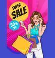 stylish surprise woman with shopping bags vector image vector image