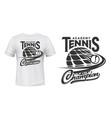 tennis sport academy t-shirt print mockup vector image