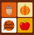 thanksgiving set icons celebration holiday vector image vector image
