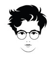 the head of a beautiful girl with glasses face of vector image