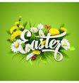 Title Easter with spring flowers vector image