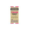 transport tram ticket with control cutting line vector image vector image