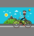 travel on bike man on bicycle nature landscape vector image vector image