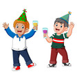 two men is celebrating with a drinking party vector image